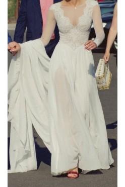 Suknia ślubna Agata Gajek muślin koronka