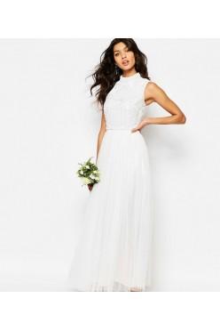 MAYA TALL sukienka ślubna maxi biała 36