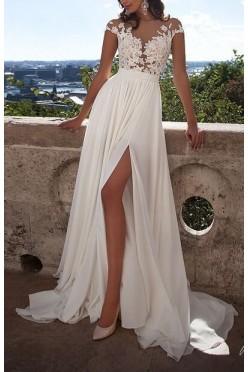 Suknia koronka i muślin, rozmiar 38 rozcięcie na nogę