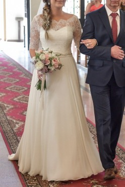 Suknia Ślubna Marvil z trenem + bolerko + welon hiszpański
