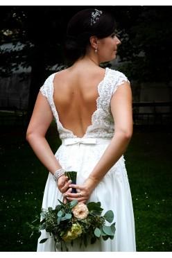 Suknia ivory śmietankowa kryształy Swarovskiego +dwa welony