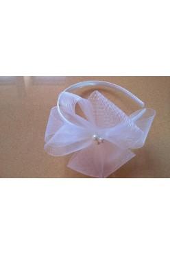 Fascynator ślubny z krynoliny z perełkami