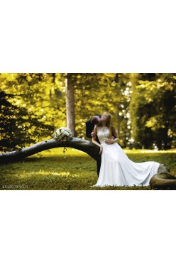 Suknia ślubna koronkowa góra + muślinowy dół 34 36