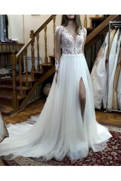 NOWA suknia ślubna rozporek gołe plecy ivory r. 36