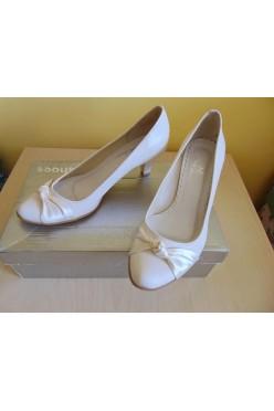 Buty ślubne wesele ecru skóra nowe 37 Mark Shoes