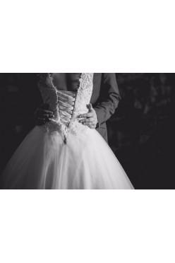 Suknia ślubna, koronka, princessa