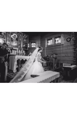 Długi welon ślubny z koronką :)
