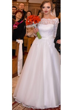 Suknia ślubna z rękawkiem 3/4 (koronka) r. 38; 166 cm + 10cm