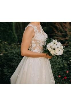 Suknia ślubna Pronovias Ofelia gipura koronka tiul