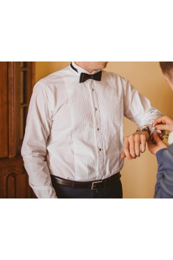koszula smokingowa plisowana + czarna muszka GRATIS!!