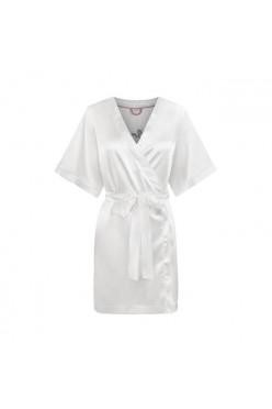 Biały satynowy szlafrok Bride