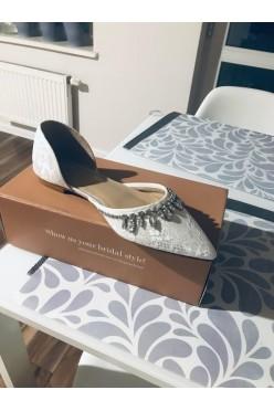 buty ślubne, płaskie baleriny