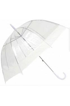 Parasol przezroczysty z białymi elementami