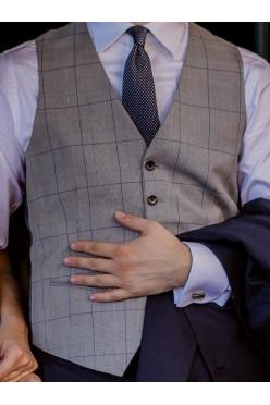 Szara kamizelka ślubna w kratę księcia Walii (rozmiar 50)
