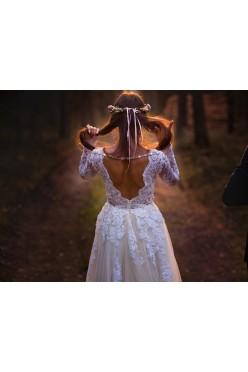 Suknia ślubna, długi rękaw, odkryte plecy,tren, S (36)