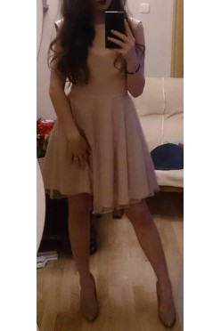 Elegancka sukienka pudrowy róż 38