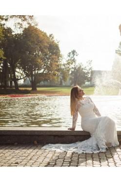 Zjawiskowa suknia ślubna, r. 38, 163 + 7 cm obcas.