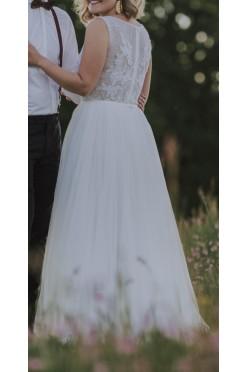 Suknia ślubna rozmiar 38 boho rustykalna tiul