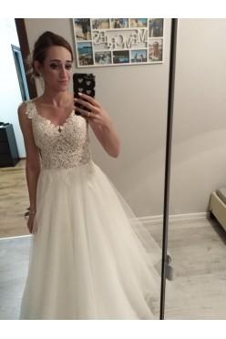 Przepiękna suknia ślubna koronka tiul 34 164cm + 8cm obcas