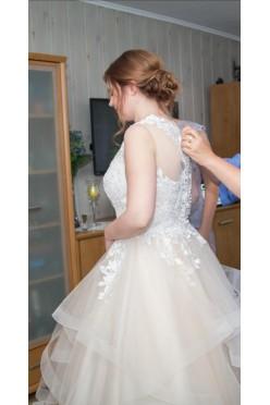 Suknia ślubna 40-42 brzoskwinia