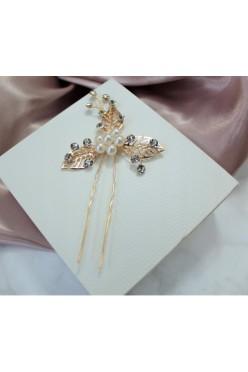 złoty mały grzebyk wsuwka do włosów ozdoba ślub srerbrny