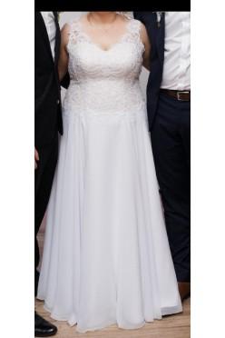 Suknia ślubna, rozmiar 44/46, litera A, muślin, biel, gratis
