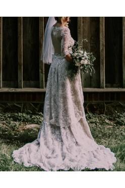 suknia asymetryczna boho koronka