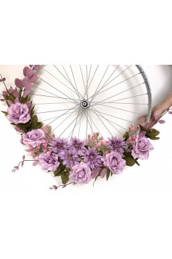 Ozdoba dekoracja weselna koło rustykalne kwiaty sztuczne