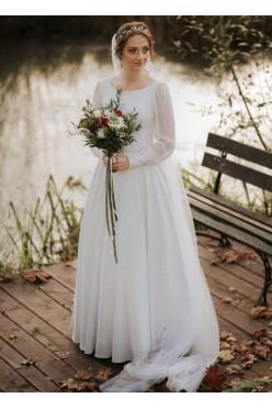 Gładka suknia ślubna z bufiastymi rękawami