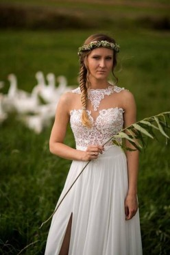 Suknia ślubna HEBE z odpinanym trenem
