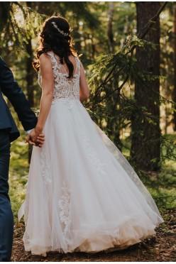 Suknia ślubna koronka z tiulem ivory+ róż