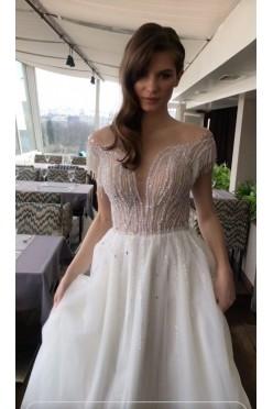 NOWA bogato zdobiona suknia ślubna 36 ivory tren