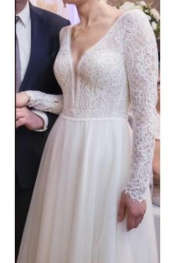 Suknia ślubna 2020 36/38, 1 raz założona, welon 3m