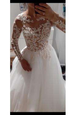 Nowa suknia ślubna ivory 36 koraliki długi rękaw księżniczka