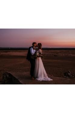 Suknia ślubna, długi rękaw, tren, gipiura
