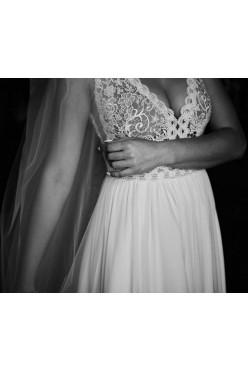 Suknia ślubna boho/ muślin/ koronka, dopinany tren