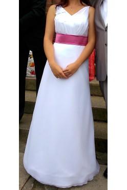 Biała suknia z różowym pasem rozm. 38