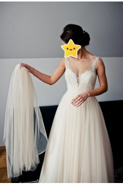Suknia ślubna pudrowy róż Justin Alexander