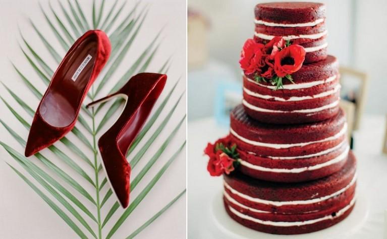 Czerwony akcent na ślubie i weselu