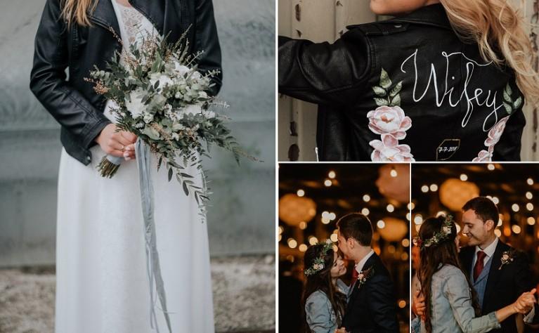 Skórzana lub jeansowa kurtka do sukni ślubnej