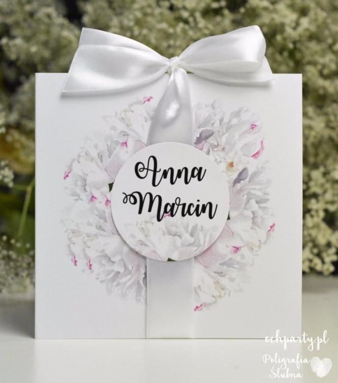 Biała Piwonia zaproszenia ślubne
