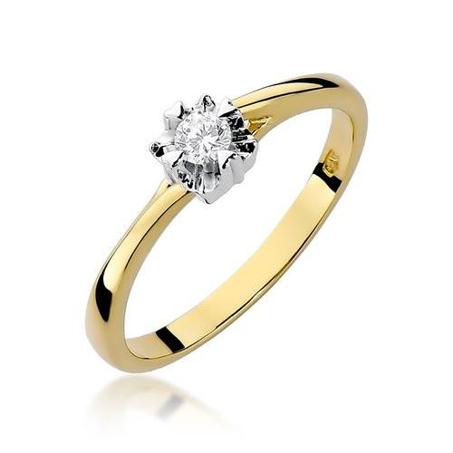 Złoty pierścionek zaręczynowy z brylantem 0,10ct