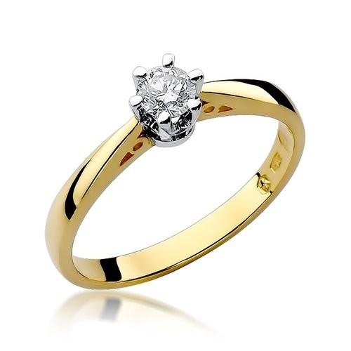 Złoty pierścionek zaręczynowy z brylantem 0,30ct Klasyka