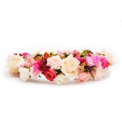 Wianek na ślub rustykalny różowy