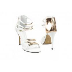 Biało-złote sandałki ślubne
