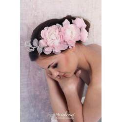 Ginny | stroik z jedwabnych kwiatów z woalką - zestaw