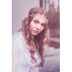 Laurel | wianek ślubny ze złotymi listkami