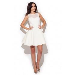 Zmysłowa sukienka w odcieniach ecru o rozkloszowanym kroju