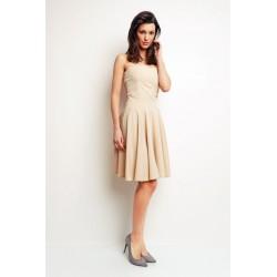 Beżowa sukienka z gorsetową górą