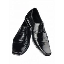 Czarne, eleganckie obuwie w 100% ze skóry naturalnej,